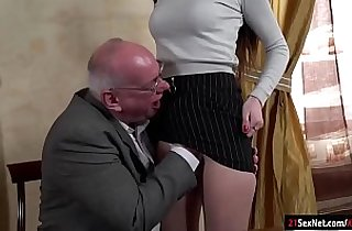 blowjob, brunette, grandpa xxx, kisses, old-young, oralsex, leaking, sex teacher